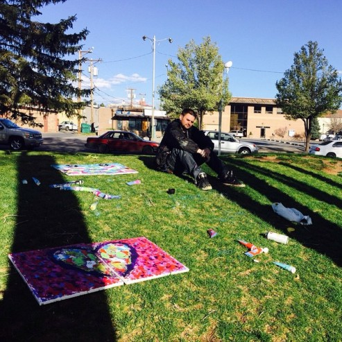 4/14/15: Flagstaff, AZ - local park painting, I ended up meeting some locals and painted one of their hand towels.