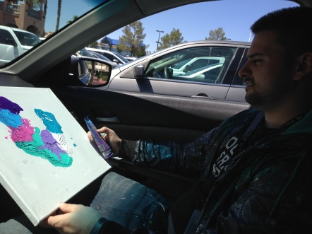 4/15/15: Las Vegas, NV - w/ Vinny P, riding shotgun, did a painting!