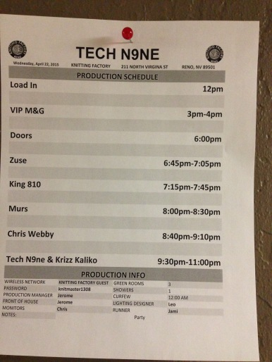 4/22/15 - Reno, NV - The Tour Line Up