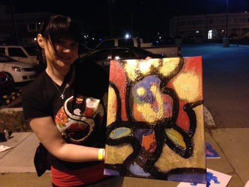 5/1/15: Idaho Falls - Painting outside the bus - its yours!
